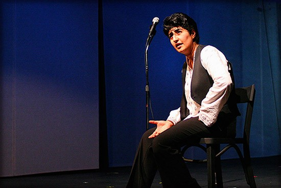 Sara Razavi expresses herself in The Monologist Suffers Her Monologue by Yussef El Guindi.  Photo by Gohar Barseghyan.