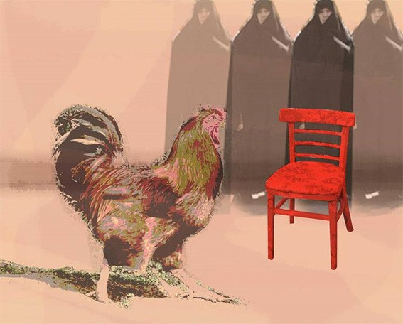 Cock + red chair by Kourosh Salehi