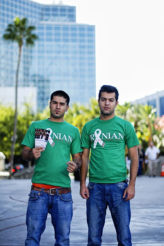 Photographer: Parisa Taghizadeh --- Subjects: Reza and Sina Foroughi, brothers attending Iran Heritage Night at the Clippers game, Staples Center. --- November 2009