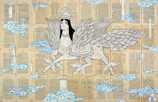 """Ascension 2007 Acrylic and ink on book pages mounted on canvas 51 1/2"""" x 81"""""""