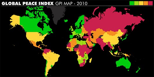 Global peace index 2010 world map