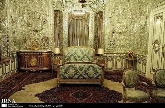 Reza Shah's Bedroom, the bed was added later by Mohammad-Reza Shah as Reza Shah used to sleep on the floor
