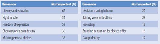 Civil society views on most important dimensions of empowerment