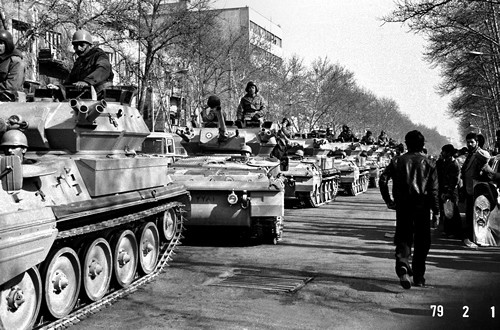 The Shah's army tank units parading down Shahreza Avenue -1979