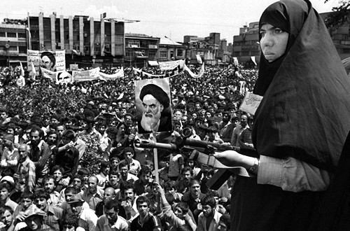 Iranian woman on guard at Khordad - 1979