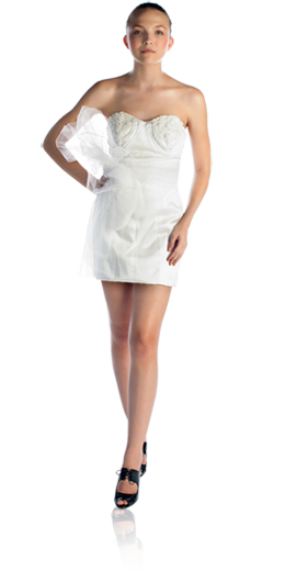 Alexis- Isabelline white silk organza strapless sweetheart neck dress with lace and crystal jewel neckline - $$$