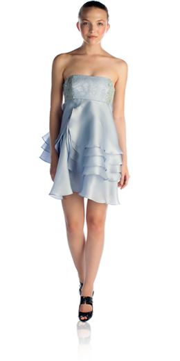 Chloe - carolina blue embellished re-embroidered lace bodice and short tulip tiered skirt - $$$