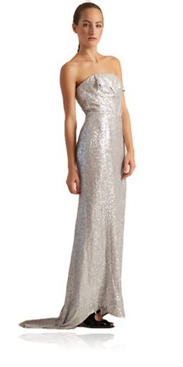 Havanna - Silver embellished re-embroidered silk chiffon and sequence strapless natural waist gown with train - $$$$