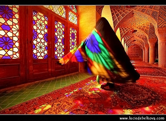 Mystery Woman in Nasir al-Mulk Mosque in the city of Shiraz
