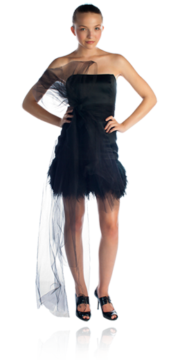 Jackie - Black silk satin organza strapless drop waist dress with removable tulle belt detail and short tiered ostrich feather skirt - $$$$