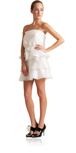 Julia - Isabelline white strapless dress with hand tufted bodice, tiered and crystal embroidered belt - $$