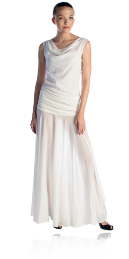 leila - Isabelline white embellished drop waist silk chiffon and sheath dress with low v-back and lace and crystal detail - $$$
