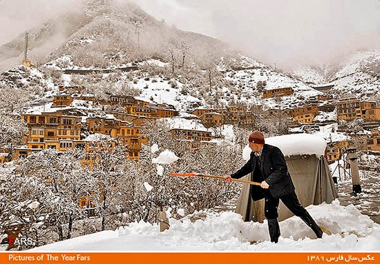Snow removal in the village of Masouleh-Gilan - Phot by Morteza Rafi Khah