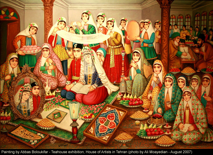 Traditional Iranian Wedding Ceremony Depicted In A Teahouse Painting By Abbas Boloukifar Click Image To See High Resolution